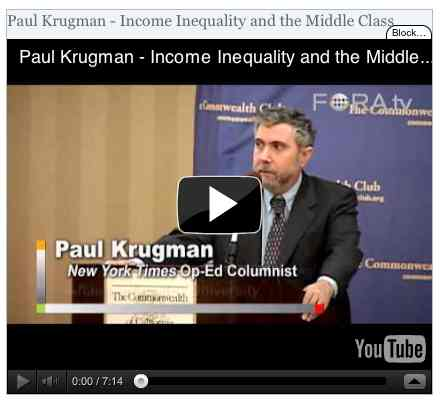 Image to go with video of: Paul Krugman - Income Inequality and the Middle Class