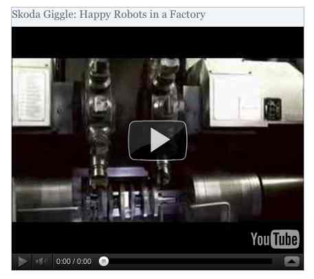 Image to go with video of: Skoda Giggle: Happy Robots in a Factory