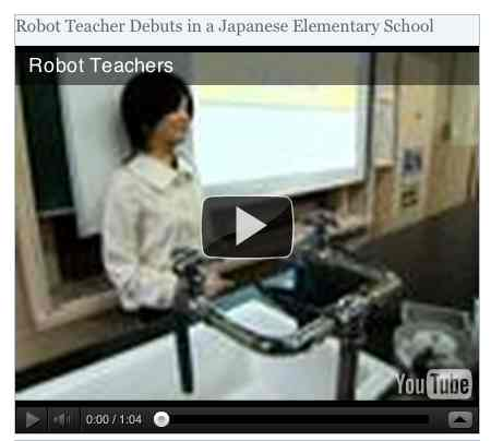 Image to go with video of: Robot Teacher Debuts in a Japanese Elementary School