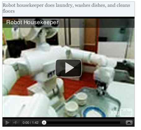 Image to go with video of: Robot housekeeper does laundry, washes dishes, and cleans floors