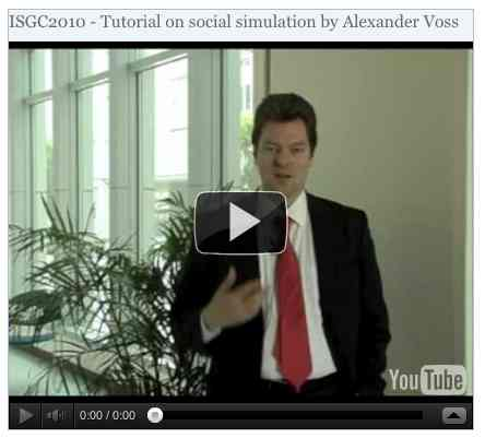 Image to go with video of: ISGC2010 - Tutorial on social simulation by Alexander Voss